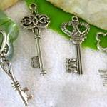 Four Silver Key Charms