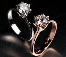 Two 18K GP Solitaire Rings Size 7