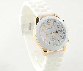 White Geneva Silicone Watch