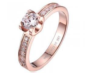 18k GP Rose Gold Sim Diamond Ring Size 7